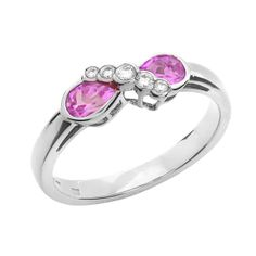 A stunning Pink Sapphire & Diamond ring in 18ct white gold