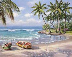 Paint By Numbers Kit - Beach Coconut Tree  #paintingbynumbers #prettyneatcreative #5ddiamondpainting #diamondpaintingaddict #diamondpaintinglovers #paintwithdiamonds #diamondpaintingdiy #crossstitch #diamondpainting Seascape Paintings, Oil Painting On Canvas, Diy Painting, Landscape Paintings, Canvas Art, Canvas Size, Beach Canvas Paintings, Painting Classes, Diy Canvas