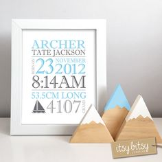 A personal favourite from my Etsy shop https://www.etsy.com/au/listing/462344249/baby-boy-gift-set-birth-print-with