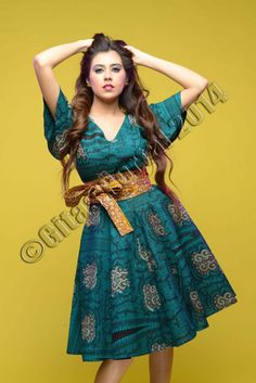 MIRANDA dress in green and black African print by by GitasPortal