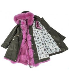 COTTON PARKA WITH FUSCHIA FOX -RABBIT VEST  ONLINE PURCHASE: www.cigdemmalkoc.com #parka #fashion #cigdemmalkoc #fox #furparka