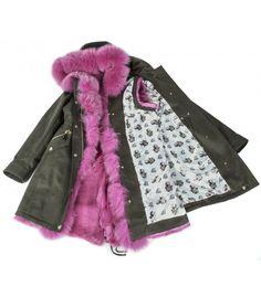 COTTON PARKA WITH FUSCHIA FOX -RABBIT VEST  ONLINE PURCHASE: www.cigdemmalkoc.com #parka #fashion #cigdemmalkoc #fox #furparka