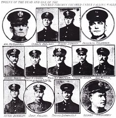 From The Evening Bulletin - Philadelphia; Thursday, December 22nd, 1910, Page 3.  These are 12 of the 13 firefighters who were killed in the December 21st, 1910 fire at the Friedlander Leather Remnants Factory on the 1100 block of North Bodine Street.  It remains the worst loss of life in Philadelphia Fire Department history to this day.  (Note: Joseph Toner was not one of the victims.)