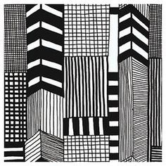 """Ruutukaava Wallpaper   Black and white wallpaper with sketch-inspired motifs.   Product: WallpaperConstruction Material: PVCColor: Black and whiteFeatures:  Double roll16"""" Vertical repeat Dimensions: 396"""" H x 27.6"""" W"""