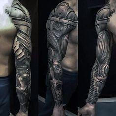arm tattoo mann, schwarz graues sleeve tattoo mit maschinen motiv