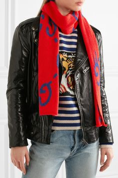 Gucci - Intarsia Wool Scarf - Red - one size
