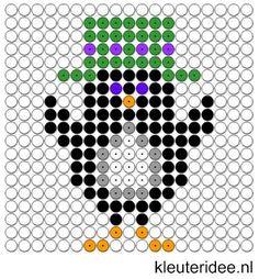 Kralenplank pinguin 3, kleuteridee.nl , thema Noordpool & Zuidpool  , free printable  Beads patterns preschool.