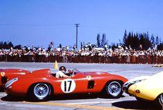 Fangio in his Ferrari 860 Monza getting ready to race.
