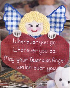 GUARDIAN ANGEL WALL HANGING PLASTIC CANVAS PATTERN