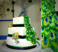 green peacock feather wedding cake pictures Best Peacock Wedding Cake Ideas modern  Wedding Cakes