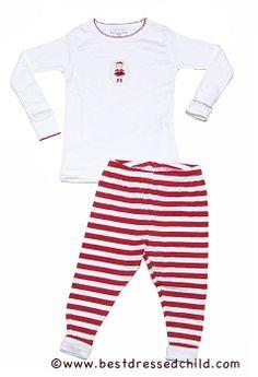 bf75a02d85 Magnolia Baby   Toddler Girls Red Striped Christmas Pajamas - Santa Girl Top