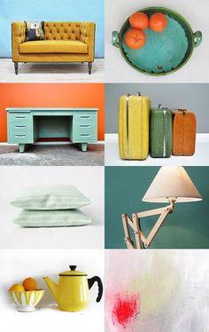 (I like the color scheme) Technicolor Home: Mid Century Modern, Retro, Vintage Home Decor