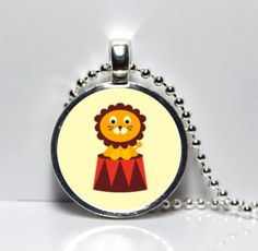 Circus Lion with Creme Background Glass Tile Pendant $7
