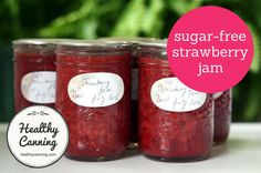 Strawberry Jam Sugar-Free (Ball / Bernardin) - Healthy Canning Sugar Free Strawberry Jam, Sugar Free Jam, Strawberry Jam Recipe, Low Sugar, Frozen Strawberries, Balls Recipe, Jam Recipes, Low Carb Diet, Keto Snacks