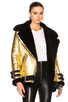Image 1 of Acne Studios Velocite Metallic Jacket in Black & Gold
