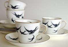 Swallow tea cups