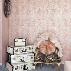 Love pink animal print on wall  Love taking the animal prints into other color families. This is beautiful.  t