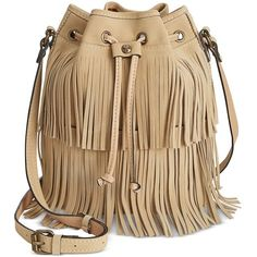 Patricia Nash Bronte Fringe Bucket Bag ($149) ❤ liked on Polyvore featuring bags, handbags, shoulder bags, sand, brown bucket bag, suede handbags, suede fringe handbag, brown suede handbag and drawstring shoulder bag