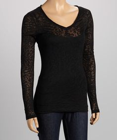 Loving this Kavio! Black Burnout V-Neck Tee on #zulily! #zulilyfinds