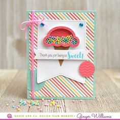 Sweet Treat Kit by Queen and Company, Ginger Williams Pop Up Cards, Your Cards, Scrapbook Paper Crafts, Scrapbook Pages, Card Making Templates, Interactive Cards, Shaker Cards, Travel Scrapbook, Card Sketches