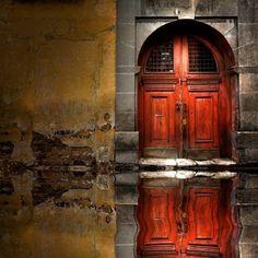 ReflectedWooden Door, Venice, Italy