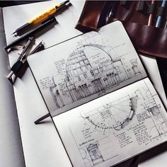 Moleskine Book with Sketches and Notes The Pantheon by Jerome Tryon Architecture Drawing Plan, Architecture Drawing Sketchbooks, Conceptual Architecture, Architecture Journal, Moleskine, Ideas Scrapbooking, Arte Sketchbook, Drawing For Beginners, Sketchbook Inspiration