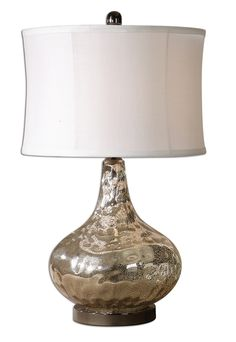 Grace Water Glass Finished on the Inside with a Lightly Antiqued Crackled Polished Chrome Lamp