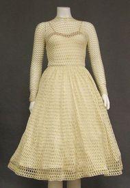 UNIQUE Cream Fishnet 1960's Cocktail Dress