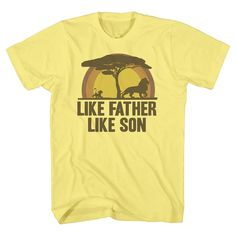 Lion King Men's Like Father Like Son T-Shirt Yellow Large, Pale Yellow