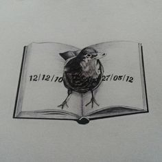 Blackbird on an open book, with dates.