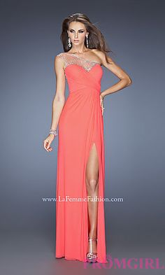 Long One Shoulder Formal Gown by La Femme at PromGirl.com