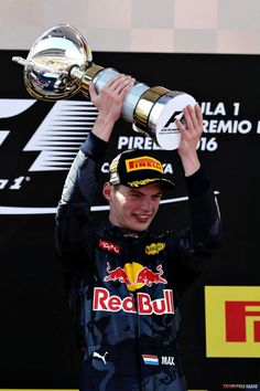 Max Verstappen, Red Bull Racing celebrates his first win . Photo by Red Bull Content Pool on May 2016 at Spanish GP. Browse through our high-res professional motorsports photography F1 Barcelona, Sport Cars, Race Cars, Course Red Bull, F1 Motor, Man Cave Items, Motorsport Events, Mick Schumacher, Barcelona