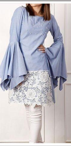 Inspiration photo: adding lace to a skirt or dress Stylish Dress Designs, Stylish Dresses, Simple Dresses, Casual Dresses, Fashion Dresses, Pakistani Dresses Casual, Pakistani Dress Design, Kurta Designs Women, Blouse Designs