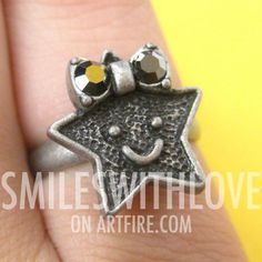 #smileswithlove on Artfire                          #ring                     #Adjustable #Super #Star #Ring #with #Smiley #Face #Silver                    Adjustable Super Star Ring with Smiley Face in Silver                                                   http://www.seapai.com/product.aspx?PID=760498