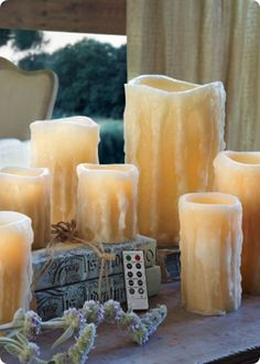 Flameless candles with dripping wax from Soft Surroundings