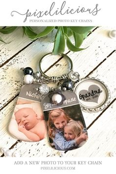 Personalized Photo Gift For Mom Custom Keychain Women Her Grandma Purse Charm Dog Tag