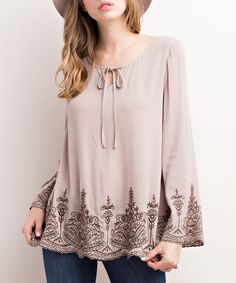 Another great find on #zulily! Taupe Embroidered Damask Bell-Sleeve Top #zulilyfinds