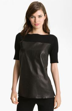 Robert Rodriguez Leather & Cashmere Pullover available at #Nordstrom $395