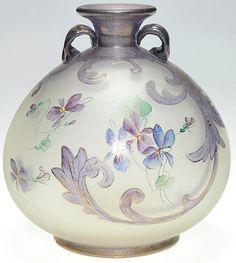 Mt Washington Glass; Royal Flemish, Vase, Violets, 6 inch HOA -signed RF