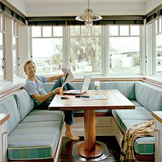 Genius Nautical Decorating Ideas It's a retro look, and we approve. The built-in breakfast nook is surrounded by striped banquette seating.It's a retro look, and we approve. The built-in breakfast nook is surrounded by striped banquette seating. Booth Seating In Kitchen, Kitchen Booths, Kitchen Nook, Table Seating, Happy Kitchen, Diy Kitchen, Kitchen Banquette Seating, Banquet Seating, Kitchen Retro
