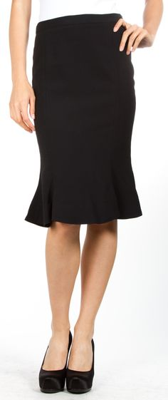 Modest and cute. Slightly flared black skirt by Vivienne Westwood.