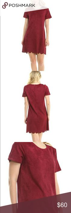 "Red Suede Scalloped Hem Dress Beautiful red suede short sleeved dress with scalloped hem detail. Can be dressed up or down.  | Measurements |  Size: Small  Length: 33"" Bust: 34"" Sleeve Length: 7.5""  