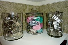 organize cupcake liners & cookie cutters