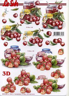 3D Decoupage / Nouvelle,  Frutti - fragole,  Le Suh,  Carta per 3D,  fragole,  ciliegie,  jam
