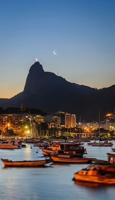 Soft lights and sunset in Rio de Janiero, Brazil