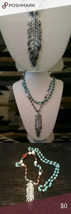 Long Feather Turquoise Wood Necklace NEW This silvertone feather necklace is 30 inches long and has wood, turquoise,  metal and faux pearl accent beads. Perfect for layering or wearing as a single necklace. Please feel free to ask any questions prior to purchasing. Jewelry Necklaces