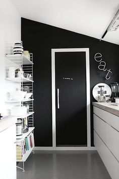 Simple black and white kitchen.