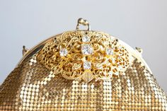 Whiting and Davis Gold Mesh Bag Purse by FalconandFinch on Etsy, $85.00