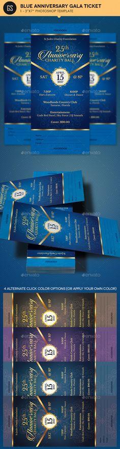 Blue Anniversary Gala Ticket Design Template - Miscellaneous Print Ticket Design Templates PSD. Download here: https://graphicriver.net/item/blue-anniversary-gala-ticket-template/19360198?ref=yinkira