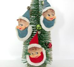 Vintage Christmas 1960's Pixie Elf Ornaments by ThirstyOwlVintage, $24.50